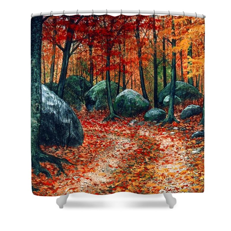 Landscape Shower Curtain featuring the painting October Woodland by Frank Wilson