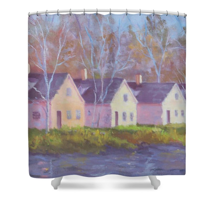 Architecture Shower Curtain featuring the painting October's Light On Peanut Row by Alicia Drakiotes