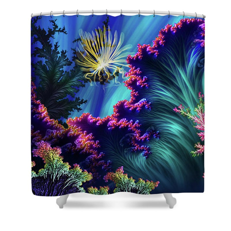 Undersea Life Shower Curtain featuring the mixed media Octopus's Garden by Steven Marcus