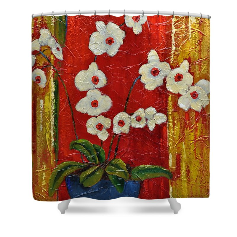 Orchids Shower Curtain featuring the painting Ode To Orchids by Ginger Concepcion