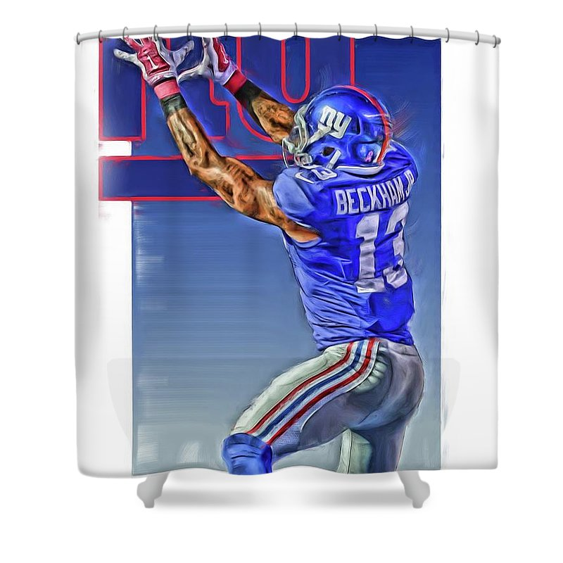 Odell Beckham Jr Shower Curtain Featuring The Mixed Media New York Giants Oil