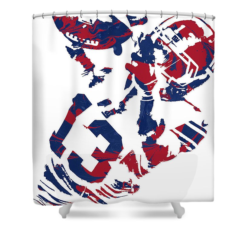 Odell Beckham Jr Shower Curtain Featuring The Mixed Media New York Giants Pixel