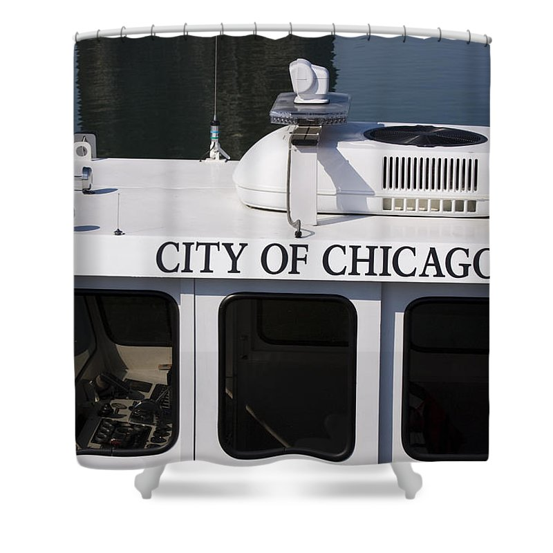 Chicago Windy City Police Boat Lake Michigan Water White Shower Curtain featuring the photograph Off Duty by Andrei Shliakhau