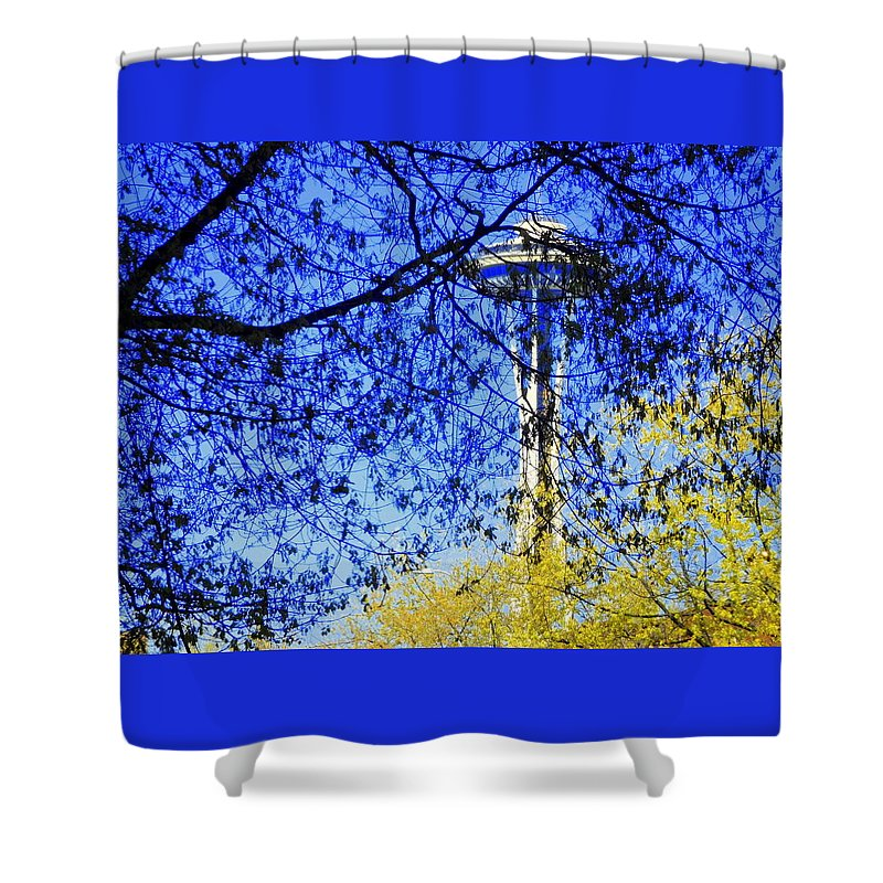 Scene Shower Curtain featuring the photograph Off In Space by Maro Kentros