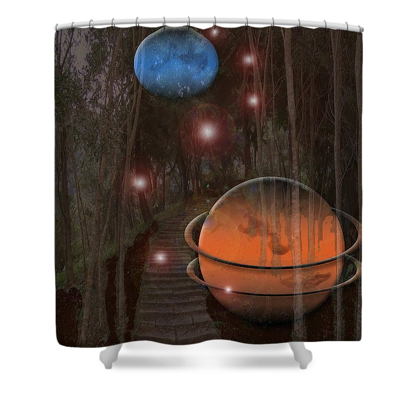 Planets World Trees Pathway Tree Stars Universe Worlds Travel Rare Shower Curtain featuring the photograph Off The Beaton Path by Andrea Lawrence