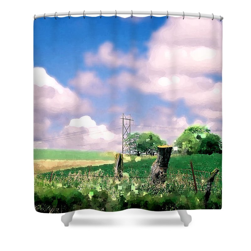 Landscape Shower Curtain featuring the photograph Off The Grid by Steve Karol
