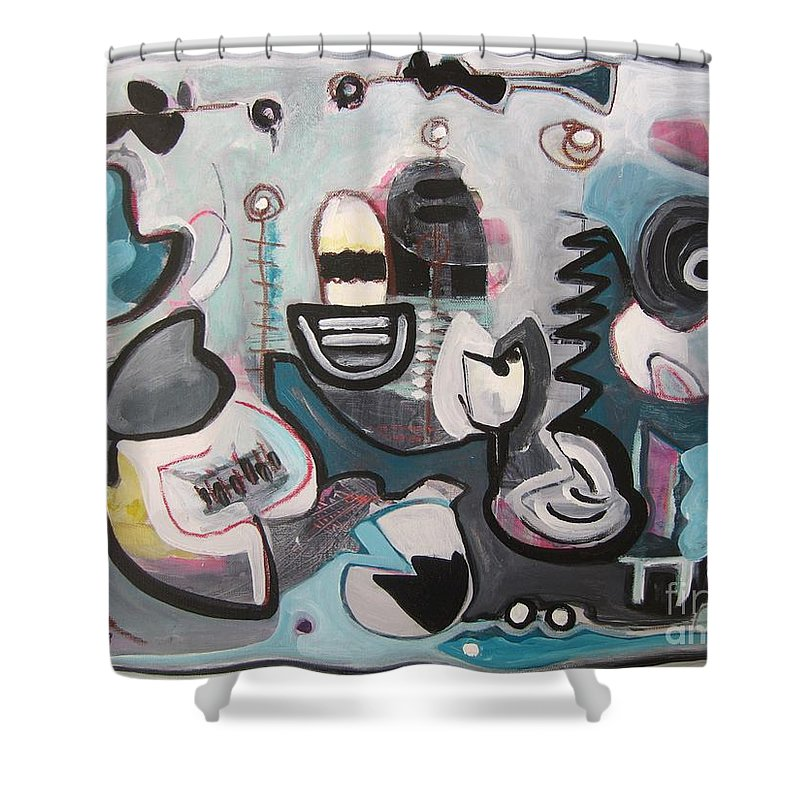 Fish Paintings Shower Curtain featuring the painting Off The Island by Seon-Jeong Kim