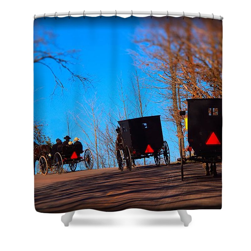Amish Buggies Shower Curtain featuring the photograph Off To Church by Michael Petenbrink