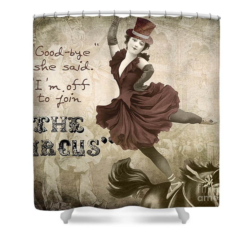 Circus Shower Curtain Featuring The Painting Off To Join By Mindy Sommers