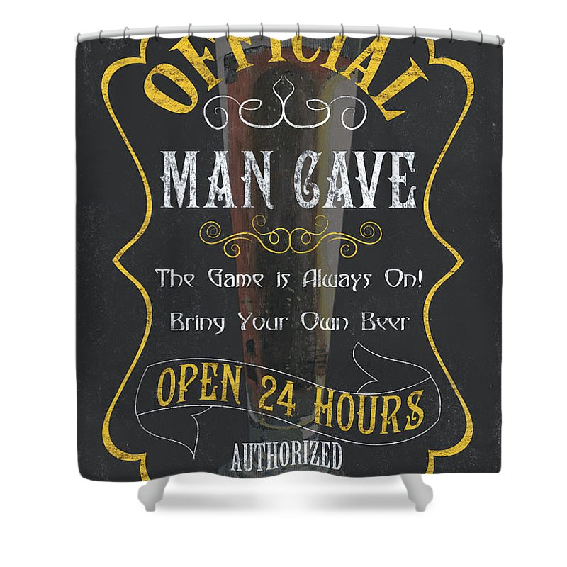 Beer Shower Curtain Featuring The Painting Official Man Cave By Debbie DeWitt