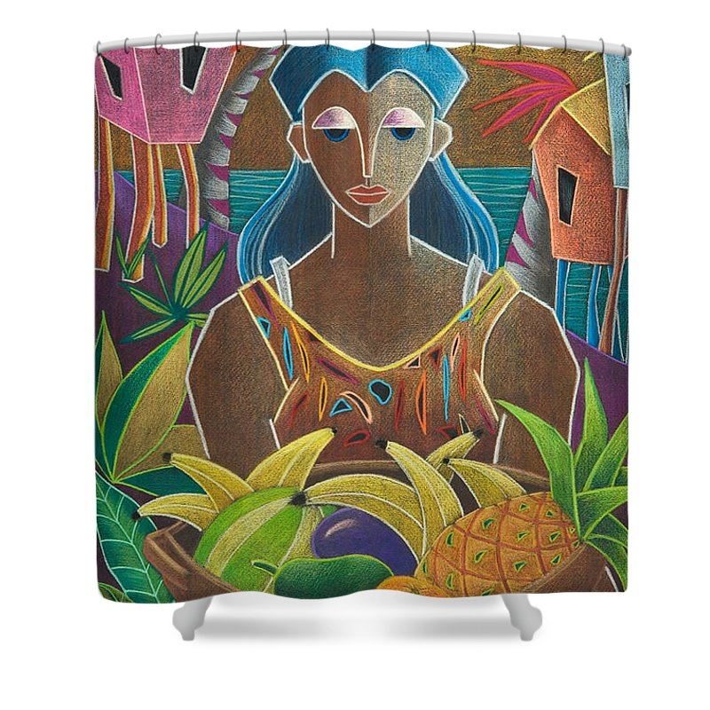 Female Shower Curtain featuring the painting Ofrendas De Mi Tierra by Oscar Ortiz