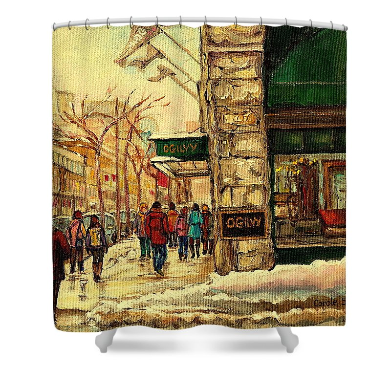 Ogilvys Department Store Shower Curtain featuring the painting Ogilvys Department Store Downtown Montreal by Carole Spandau