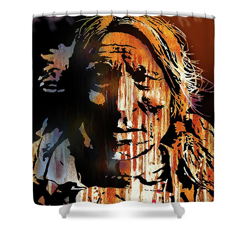 Native Americans Shower Curtain featuring the painting Oglala Warrior by Paul Sachtleben