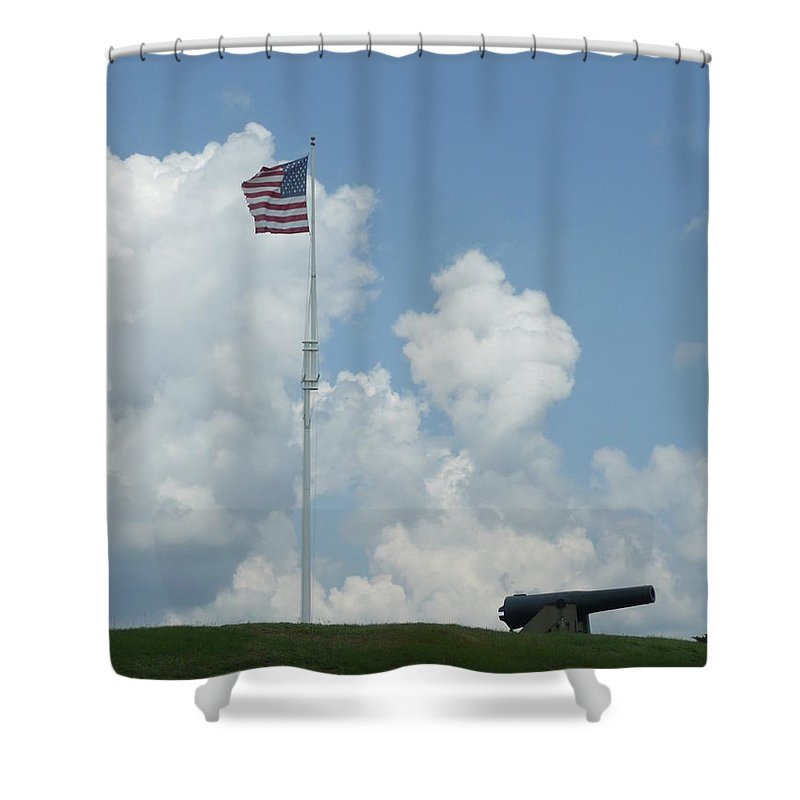 Flag Shower Curtain featuring the photograph Oh Say Can You See by Barb Montanye Meseroll