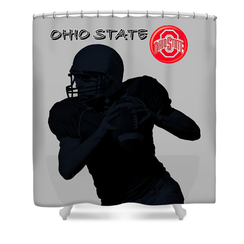 Football Shower Curtain Featuring The Digital Art Ohio State By David Dehner