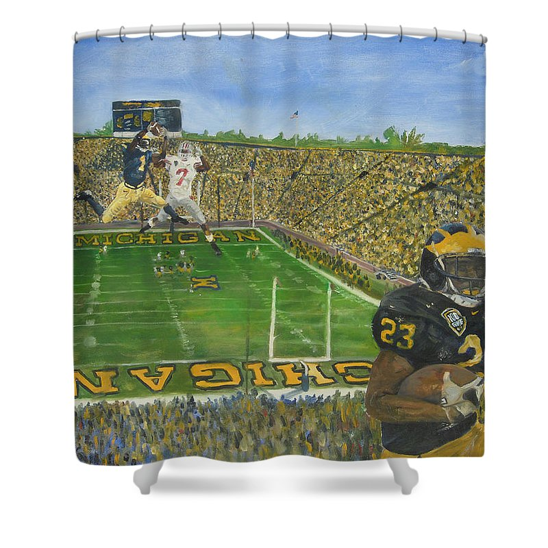 Michigan Shower Curtain featuring the painting Ohio State vs. Michigan 100th Game by Travis Day