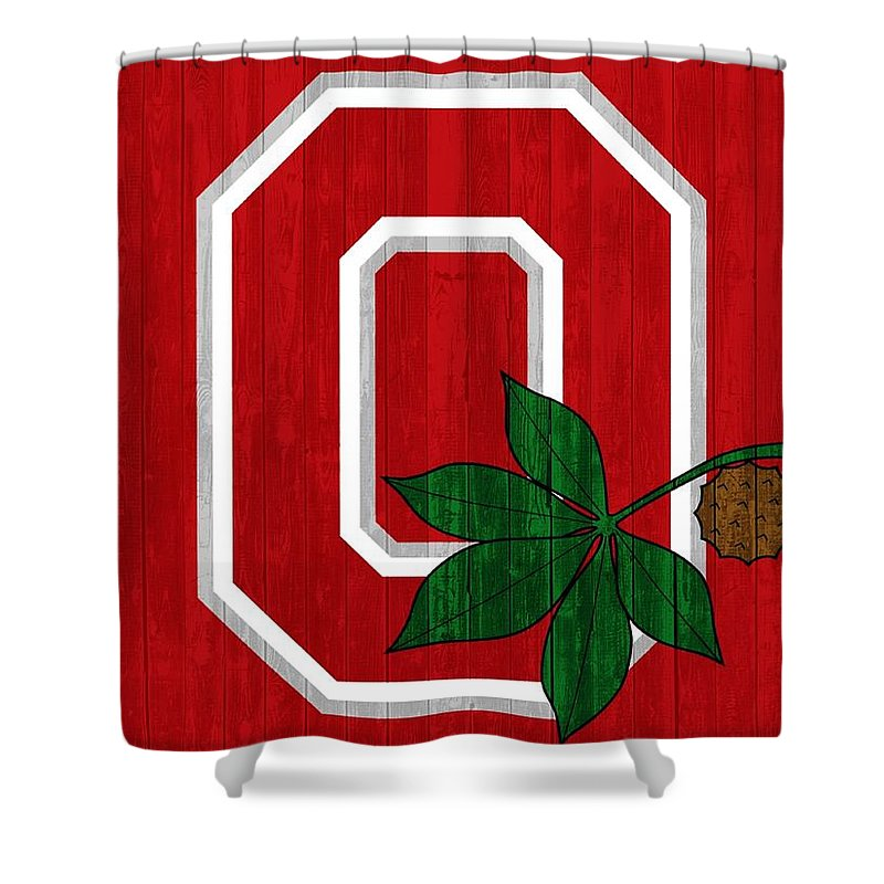Ohio State University Shower Curtain featuring the mixed media Ohio State Wood Door by Dan Sproul