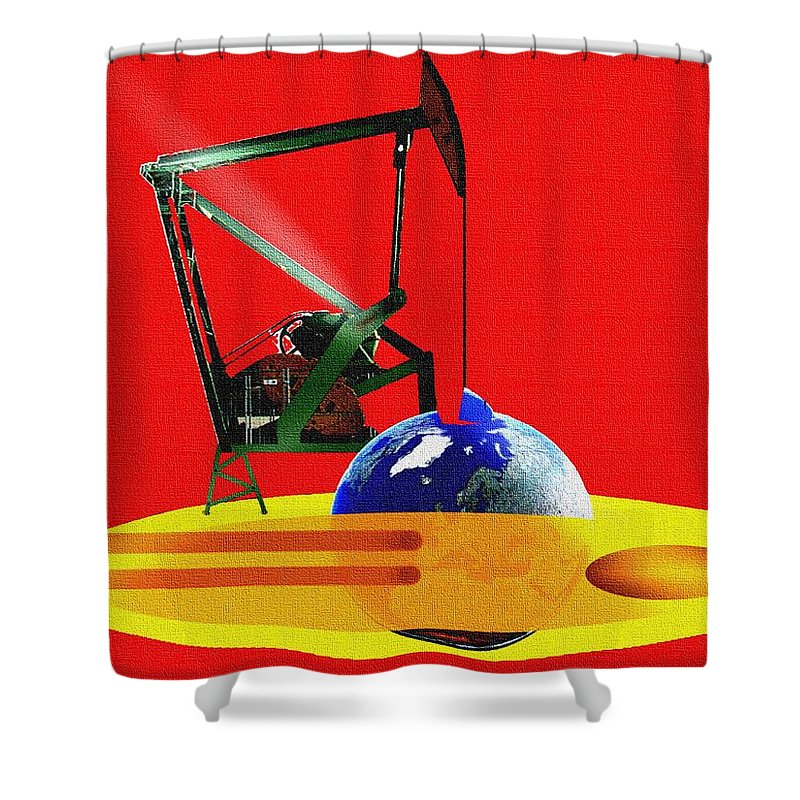 Urgent Shower Curtain featuring the digital art oil by Helmut Rottler