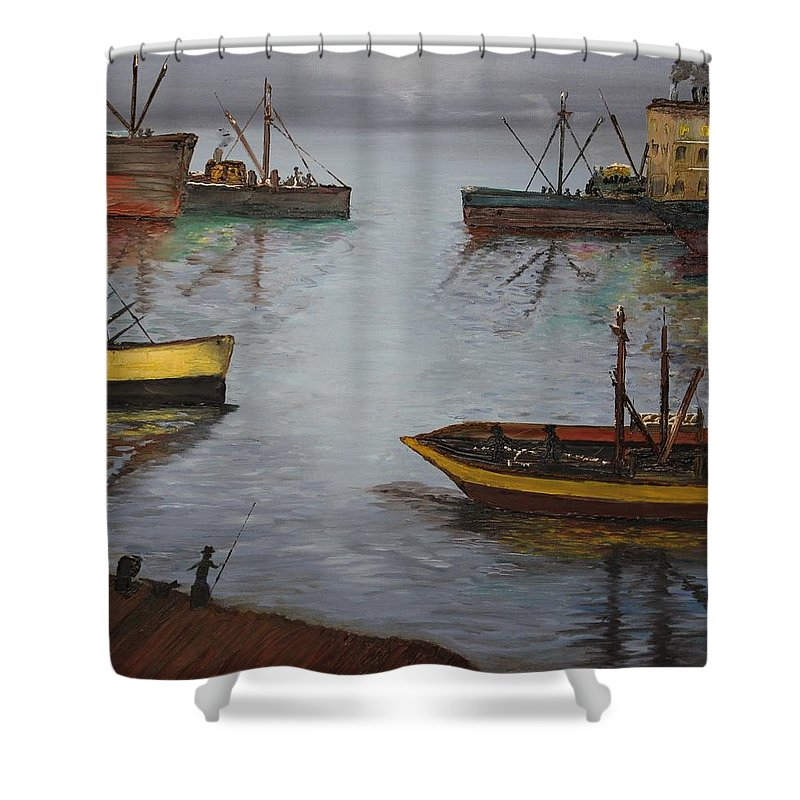 Originals Shower Curtain featuring the painting Oil Msc 024 by Mario Sergio Calzi