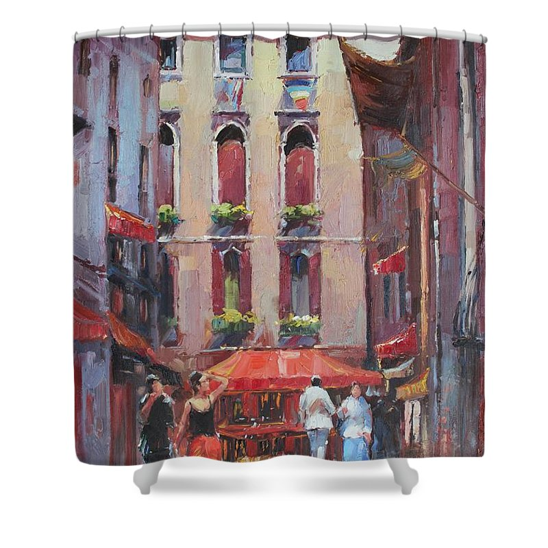 Originals Shower Curtain featuring the painting Oil Msc 043 by Mario Sergio Calzi
