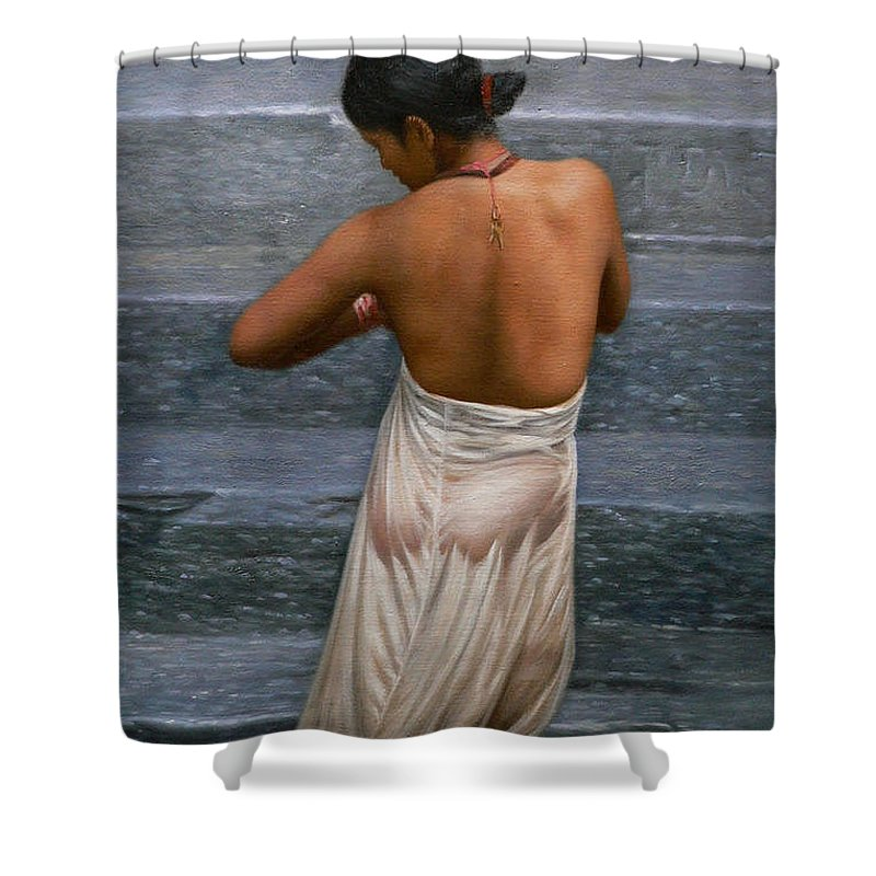 Oil Painting Shower Curtain featuring the painting Oil Painting Art-bather On Linen by Hongtao   Huang