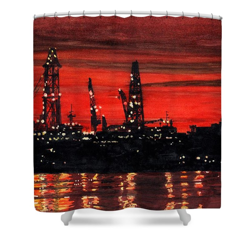 Cityscape Shower Curtain featuring the painting Oil Rigs Night Construction Portland Harbor by Dominic White