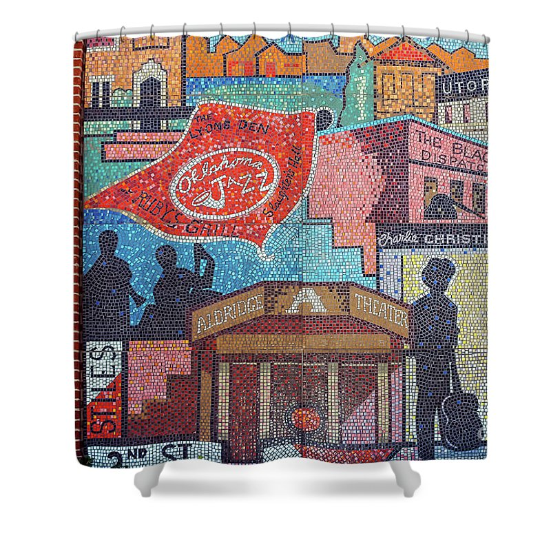 Oklahoma City Oklahoma Chickasaw Ballpark Architecture City Cities Cityscape Cityscapes Bricktown Mosaics Mosaic Tile Tiles Street Art Artwork Shower Curtain featuring the photograph Oklahoma City Mosaics by Bob Phillips