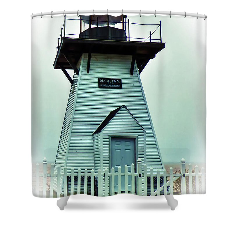 Lighthouse Shower Curtain featuring the photograph Olcott Lighthouse by Leslie Montgomery