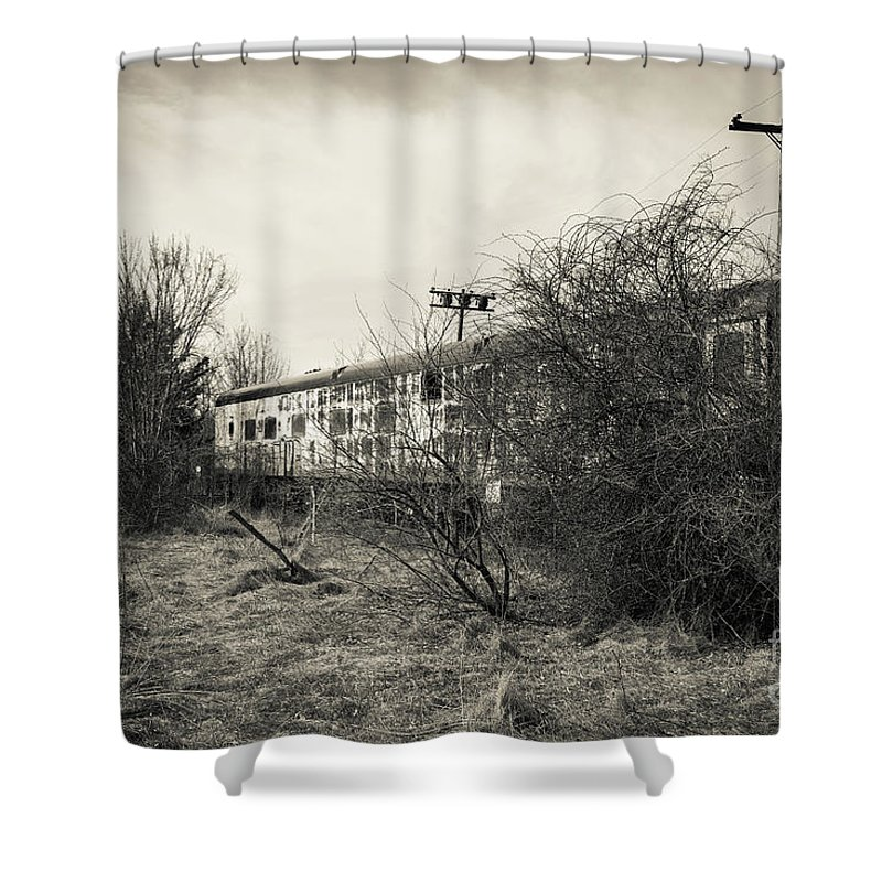 Cape Cod Shower Curtain Featuring The Photograph Old Abandoned Railroad Passenger Car By Edward