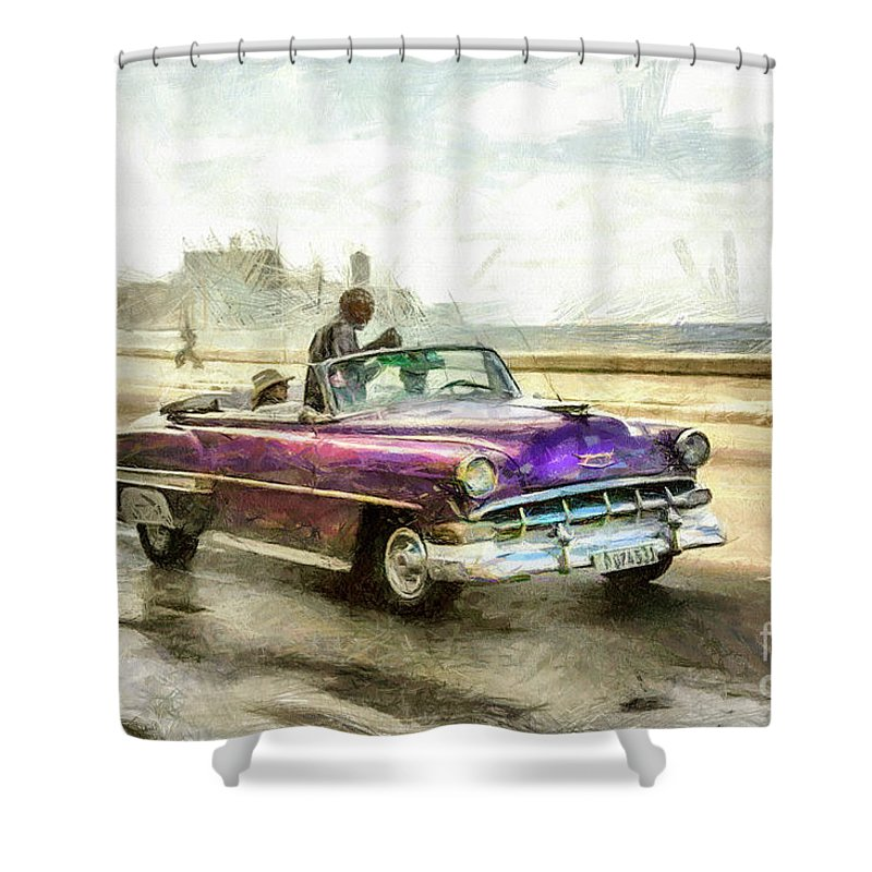 Old American Chevrolet 1950s Cars Shower Curtain