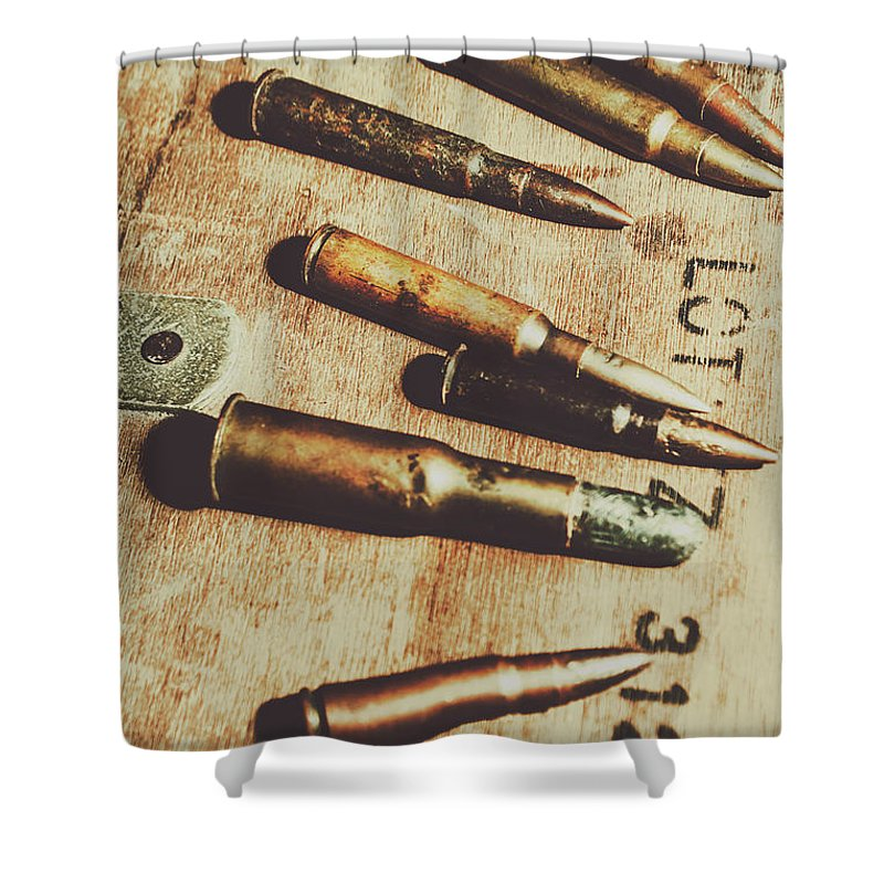 Army Shower Curtain featuring the photograph Old Ammunition by Jorgo Photography - Wall Art Gallery