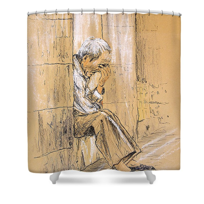 Pastel Shower Curtain featuring the drawing Old And Lonely In Spain 01 by Miki De Goodaboom