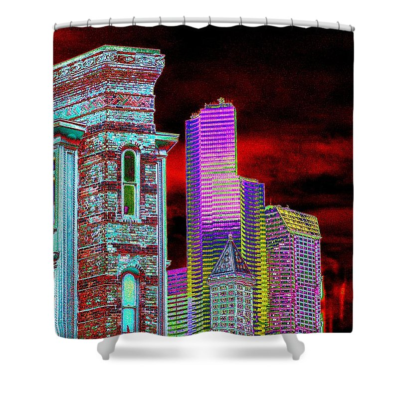 Seattle Shower Curtain featuring the digital art Old And New Seattle by Tim Allen
