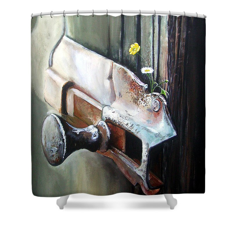 Rusty Old Flowers Buttercup Dasiy Green Wood Shower Curtain featuring the painting Old And Rusty by Arie Van der Wijst