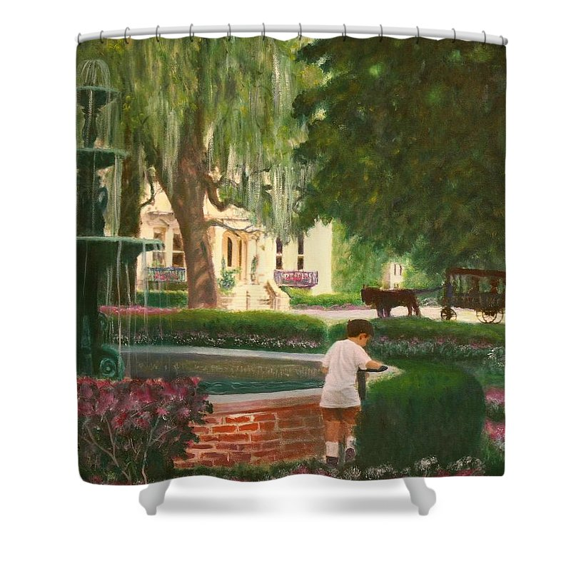 Savannah; Fountain; Child; House Shower Curtain featuring the painting Old And Young Of Savannah by Ben Kiger
