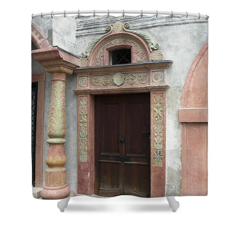 Old Shower Curtain featuring the photograph Old Austrian Door by Valerie Ornstein