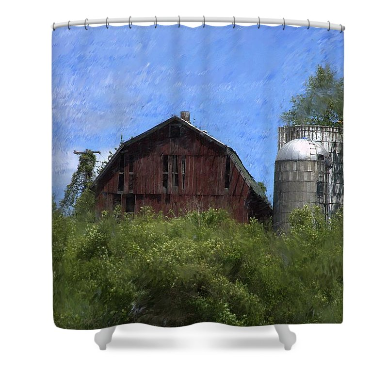 Old Barn Shower Curtain featuring the photograph Old Barn On Summer Hill by David Lane