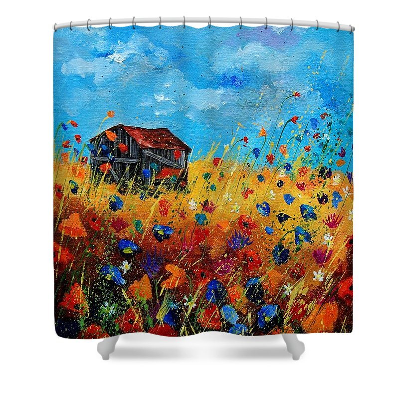 Poppies Shower Curtain featuring the painting Old Barn by Pol Ledent