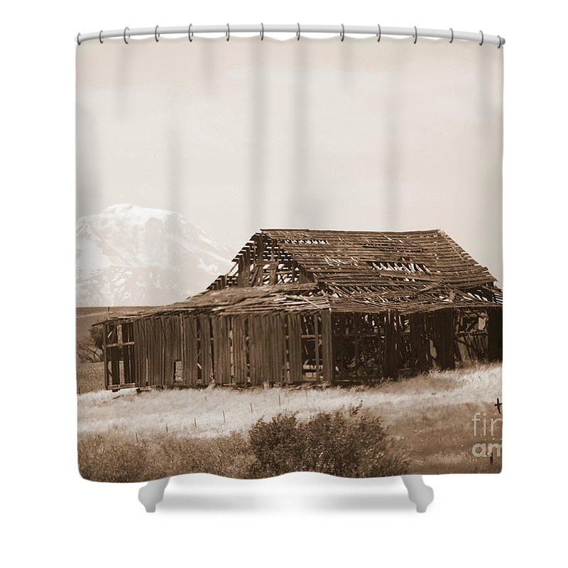 Barn Shower Curtain featuring the photograph Old Barn With Mount Adams In Sepia by Carol Groenen