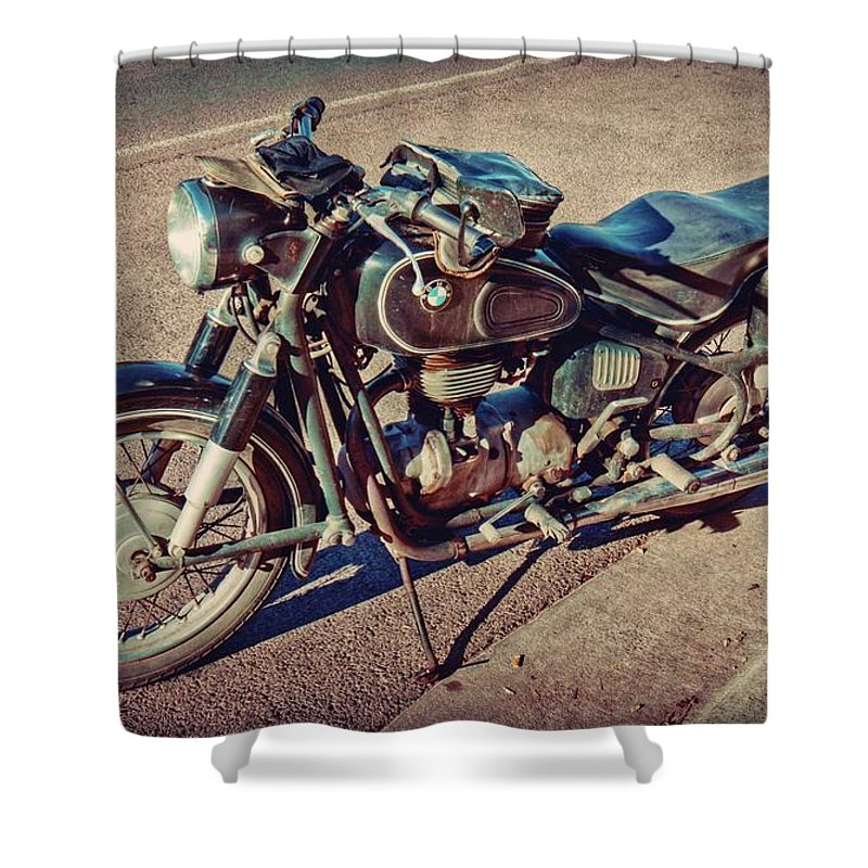 Retro Shower Curtain Featuring The Photograph Old Beamer Motorcycle By Linda Unger