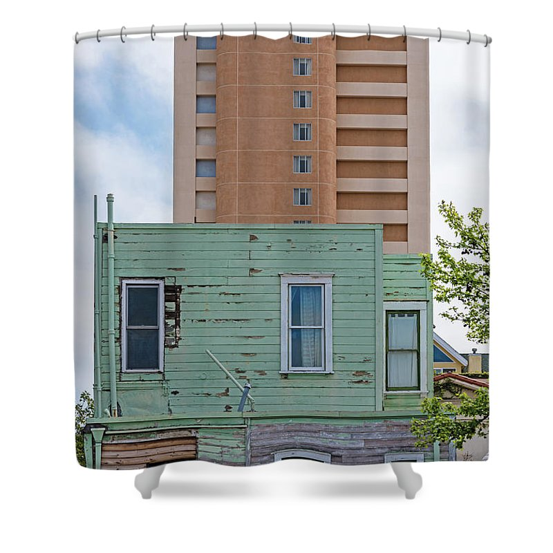 High Rise Apartment Building Shower Curtain featuring the photograph Old Before New High Rise by Robert VanDerWal
