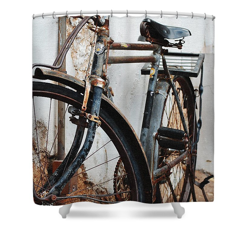 Old Bike Ii Shower Curtain featuring the photograph Old Bike II by Robert Meanor