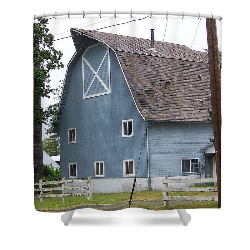 Old Shower Curtain featuring the photograph Old Blue Barn Littlerock Washington by Laurie Kidd