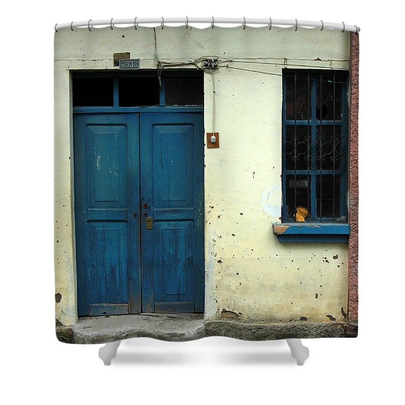 Door Shower Curtain featuring the photograph Old Blue Door by Robert Hamm