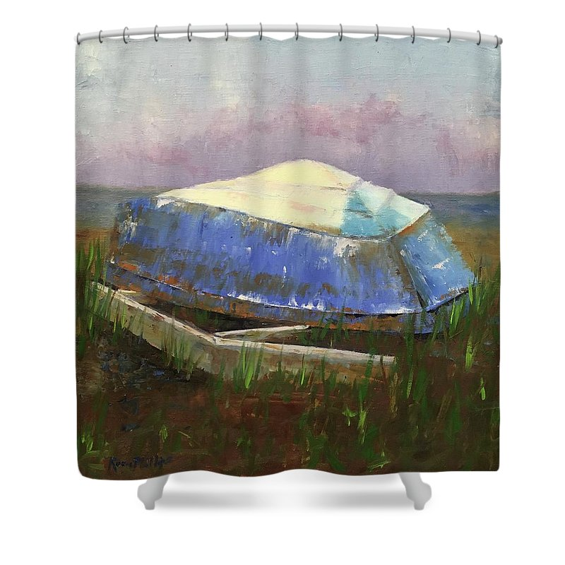 Rosie Shower Curtain featuring the painting Old Boat by Rosie Phillips