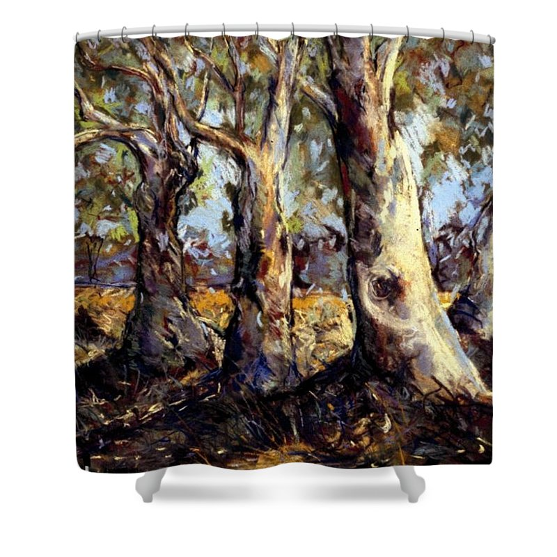 Trees Shower Curtain featuring the painting Old Boys Club by Georgia Mansur