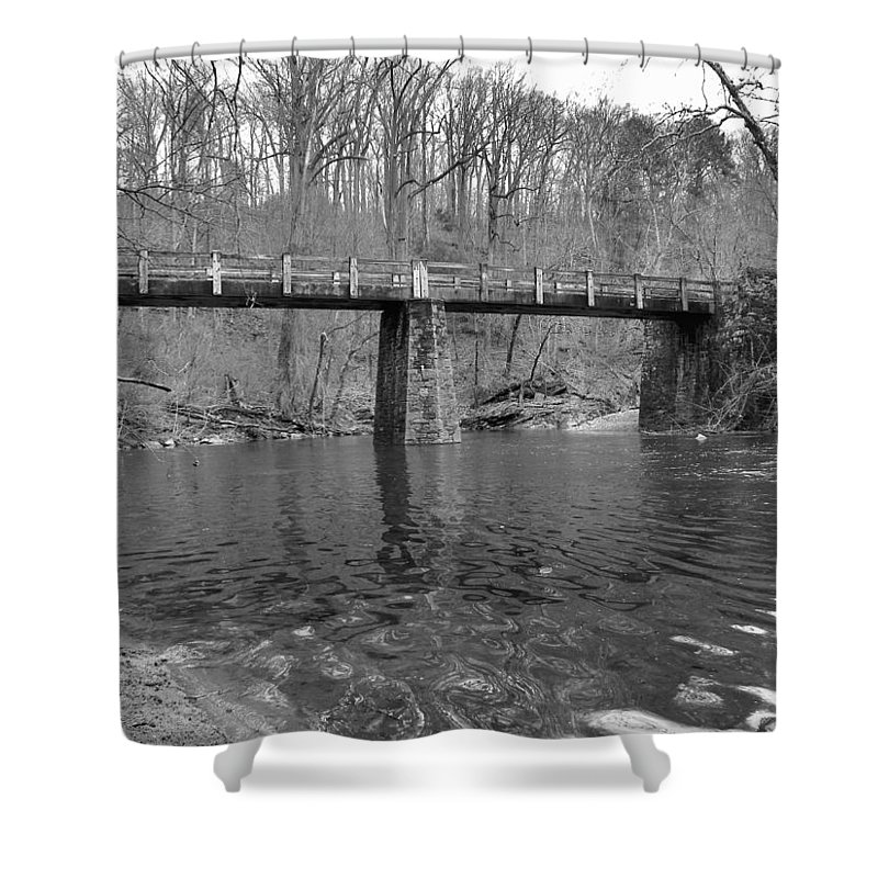 Shower Curtain featuring the photograph Old Brige In The Fall by Gerald Kloss