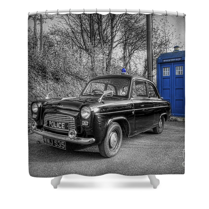 Art Shower Curtain Featuring The Photograph Old British Police Car And Tardis By Yhun Suarez