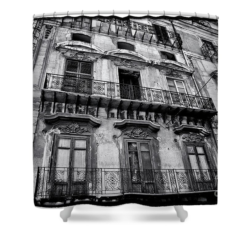 Sicily Shower Curtain featuring the photograph Old Building In Sicily by Madeline Ellis
