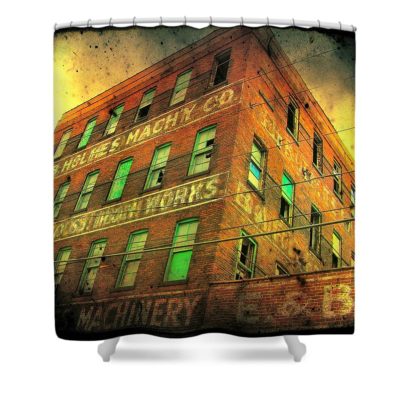 Architecture Shower Curtain featuring the photograph Old Empty Building In Retro Colors by Gothicrow Images